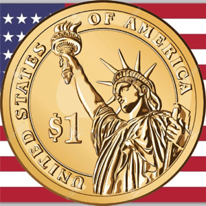 ONE US DOLLAR  COIN ($1) US America One Dollar coin Presidential - FREE SHIPPING