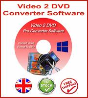CONVERT & BURN DIVX AVI MPEG WMV MP4 TO DVD SOFTWARE CD + WINDOWS 7 8 10