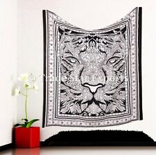 Indian Tiger Tapestry Boho Hippie Wall Hanging Ethnic Queen Cotton Bedding Throw