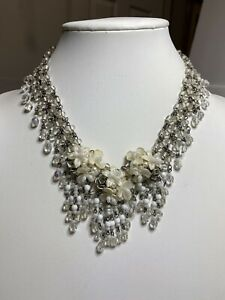 Vintage COLLEEN TOLAND Handbeaded Necklace, White Cream Clear White Ombré Tone