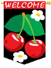 28 in. x 44 in. Welcome Cherries Banner Flag, Appliqued Sewn Nylon