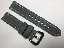NEW 20MM GRAY GENUINE CRAZY HORSE LEATHER STRAP BAND BRACELET FOR PANERAI