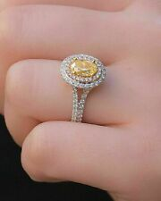 Halo Engagement Ring 14K White Zyj Certified 3ct Oval Cut Yellow Diamond Double
