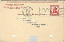 1952 3 Cent McKINLEY PREPAID REPLY CARD SEATTLE TO NARDERTH UK. CANCER CANCEL.