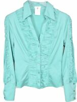 Escada Blouse Top Size 36 US 6 Long Sleeve Button Up Teal Pleated Ruffle Pleated