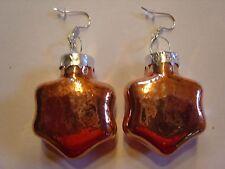 Ohrring mit Weihnachtsstern Bronze Glanz Größe ca 3,0 cm aus Glas