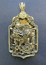 Antique China Dragon w/ Calligraphy-Bronze/Buddhist/Gold/Fengshui/Pendant/Jewelr