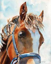 Original  Thoroughbred Chestnut Horse Painting Art Palomino Painting Portrait