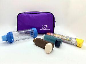 ICE Medical Purple Inhaler Medication Bag - Epipen, Spacer, Asthma
