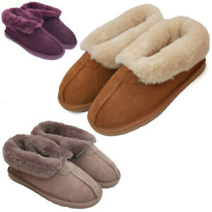 Ladies Genuine Sheepskin Split Seam Slipper Boot Hard Wearing Sole Womens