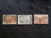 """Deutsches Reich 1900 - Inschrift """"REICHSPOST""""    MiNr. 63 + 64 + 66"""