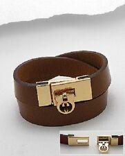 Ladies New Genuine Leather Gold Brown  Wristband Wrap Around Bracelet