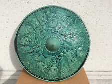 Pair of Turquoise Majolica Parade Shields with Battle Scenes, 19th Century
