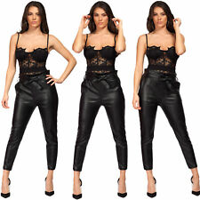 Womens Ladies PVC Wet Leather Look High Waist PU Belted Paper Bag Trousers Pants