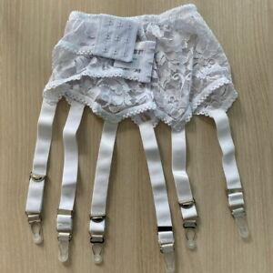 Alacki High Waist Floral Lace Garter Belt 6 Straps Stocking Suspender (S~2XL)