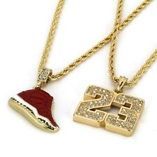 """& 23 Pendant 4mm 24"""" & 30"""" Rope Chains 14K Gold Plated Hip Hop Retro 11 Gym Red"""