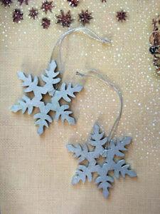 Snowflake Silver Christmas 2X Handmade Metallic Winter Navidad Wood Home Decor