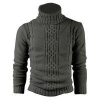 Kitz Druck Wolle Baumwolle Herren Pullover Mantel Wolljacke Dunkelgrau L O3H9
