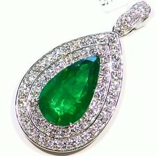 7.86Ct 18K Gold Natural Emerald Round White Diamond Vintage Engagement Necklace