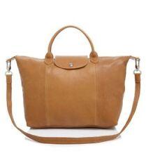 NWT$565 PlusTax Longchamp Le Pliage Cuir Medium Handbag with Detach Strap Naturl
