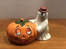 Vintage George Z Lefton Hallowing Pumpkin Ghost Candle Holder Figurine