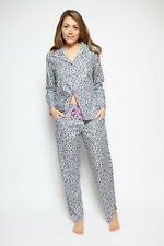 Ladies Womens Grey Purple Animal Print Pyjama Set - SIZE 20