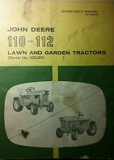 John Deere 110 112 Lawn Garden Tractor & 43 Blade Owner & Parts (3 Manuals) 70pg