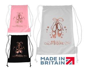 Personalised Ballerina Bag Ballet Dance Girls Kids Glitter School Gym Rose Gold