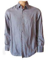 HUGO BOSS Men's Blue Striped Oberto Long Sleeve Casual Button Down Woven Shirt