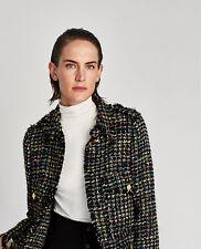 Zara Tweed Jacket Frayed Fringed Fantasy Blazer Gold Buttons Size M Ref:7862/623