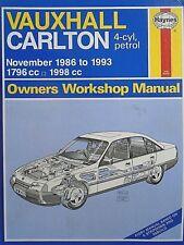 Vauxhall Carlton 4-cyl, petrol 1986-1993 Owners Workshop Manual free p&p to uk