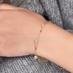 "7.5-8"" Elegant AAA 7-8mm Akoya White Round Pearl Bracelet 14k Gold P Clasp"