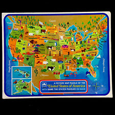 Vintage 1968 United States USA Map Frame Tray Puzzle GOLDEN 4560-11 Geography