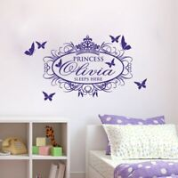 pink Girl PERSONALISED BEDROOM princess room Wall Art Vinyl Decal Sticker V128