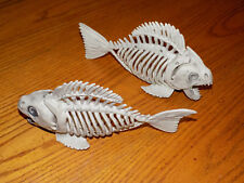 "Set of 2 Poseable 10"" Fish Piranha Skeletons Halloween Prop Decorations New"