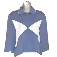 St John Sport Sz M Porcelain Blue Santana Like Knit Gold Buttons Sweater NWT New