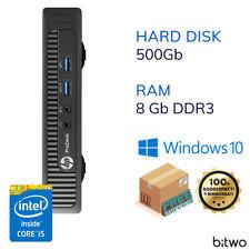 PC MINI COMPUTER DESKTOP FISSO HP RICONDIZIONATO CORE i5 RAM 8GB HD 500GB WIN 10