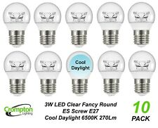 10 x 3W Clear LED Cool Daylight Globes Bulbs Lamps E27 Screw 6500K Round ES