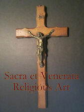 """13 1/2"""" Antique Altar Wall Hanging Thorn Carved Worm Hole Crucifix Cross FRANCE"""