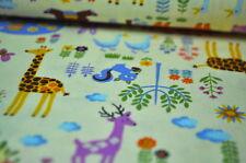 ECHINO KOKKA JAPAN ZOO Designerstoff 0,5m Giraffe Elefant Enten Kinder Tiere