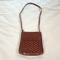 Nine West Bag,Brown,Basketweave Leather Look Woven Zippered Crossbody Small