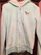 Victoria's Secret PINK Velvet Bling Sequin Sherpa Lined Teal Zip Hoodie Small