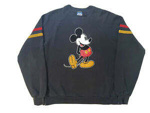 Vintage 80s Disney Mickey Mouse Sweatshirt Pullover Size Large Black USA Made