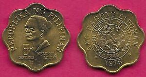 PHILIPPINES 5 SENTIMOS 1975 UNC MELCHORA AQUINO,SCALOPPED COIN,REDESIGNED BA