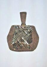 Vintage Bead & Sequin Evening Bag Finger Carry Handle Gun Metal Gray + Mirror