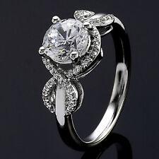 1.13 CT ROUND CUT DIAMOND HALO ENGAGEMENT RING 14K WHITE GOLD