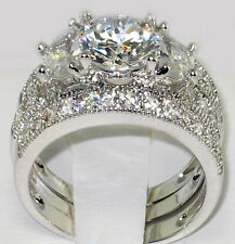 ANTIQUE HALF MOON 4.11 CT. CZ Anniversary Bridal Wedding 3 PC. Ring Set - SIZE 7