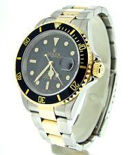 Rolex Submariner Mens 18k Gold & Steel Watch Black Date Sub No Holes SEL 16613T