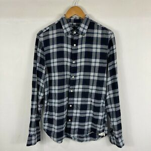 Armani Exchange Mens Button Up Shirt Size M Blue Plaid Long Sleeve Collared Slim