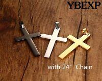 24'' MEN Stainless Steel Plain Cross Pendant Gold Black Silver chain Necklace
